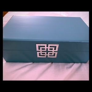 Robins Egg Blue Jewelry Box Silver Square design